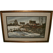 Vintage Framed Watercolor Landscape Painting - Artist Signed ROLANDAS VILKAUSKAS