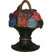 "Vintage Cast Iron Flower Basket Doorstop in Original Paint - Signed / Marked ""Trade WS (Waverly Studios) Mark Pat. Nov. 22, 1926"""