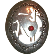 Vintage Sterling Silver & Coral Elongated Oval Pin w/ Cut Out Silhouette Of KOKOPELLI Figure And Stamped Work - 7.6 grams