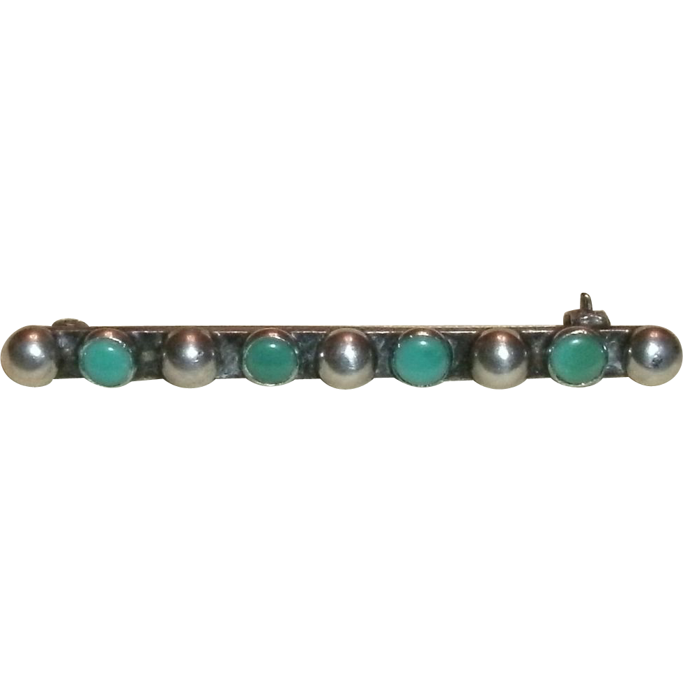 Vintage Sterling Silver & Turquoise Stud Bar Pin - 4.0 grams