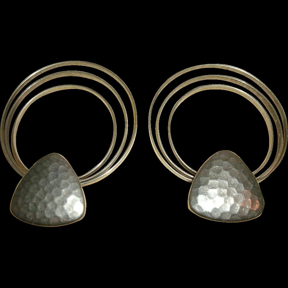 Pair Signed DANNIJO JEWELS Sterling Silver Triple Hoop Earrings - Hand Hammered - 23 grams