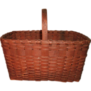 19TH C. Rectangular Native American Ash Splint Gathering Basket w/ Hand Carved Handle