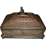 Ornate Art Nouveau Copper & Silverplate Footed Box w/ Elaborate Embossed / Repousse Work, Rams Heads, Mother & Child - Hallmarks - EG Webster & Sons Brooklyn NY 1886-1928