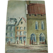 Vintage Mid-Century Impressionist Street Scene Watercolor / Mixed Media On Woven Paper - Signed LR & LL - J. Fentalen '59 (1959)