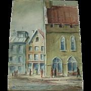 Vintage Mid-Century Impressionist Street Scene Watercolor / Mixed Media On Woven Paper - Signed LR & LL - J. Fentalen '59 (1959)