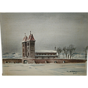 "Vintage Mid-Century Impressionist ""CHURCH IN BAYERN"" Scene Watercolor / Mixed Media On Woven Paper - Signed LR - J. Fentalen '59 (1959)"