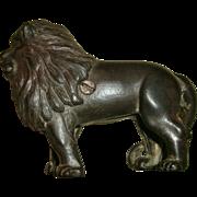 Vintage Cast Iron Figural Lion Still Bank - Nice Detail with Traces of Original Gilt Paint - circa 1900-20