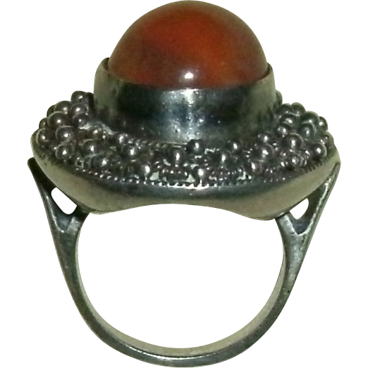 Vintage Beaded Sterling Silver Ring w/ Round Cabochon Peach Moonstone - 10.4 grams - Size 5