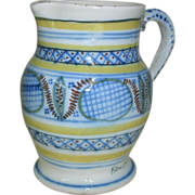 Vintage Early HenRiot Quimper Pottery Pitcher w/ Blue, Yellow, Green & Rust Geometric Designs
