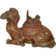 Vintage Early 20th Century Austrian Cold Painted Spelter Camel Inkwell
