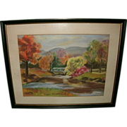 Vintage Fall Landscape Scene Painting - Gouache / Pastel (mixed media) on paper - Fall Foliage, Stream, Bridge, Mountains - Signed S. WALWORTH