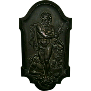 Beautifully Detailed Hercules & Diomedes Antique Copper Plated Metal Plaque