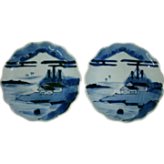 Pair 19th Century Oriental Chinese Celadon / Canton Blue White Shallow Bowls - Scalloped Borders