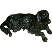 Antique Cast Iron Spaniel / Setter Dog Doorstop / Paper Weight - Nice Detail