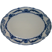 "Beautiful Large 18 3/8"" Lotus Pattern Flow Blue Turkey Platter N.H. Grindley Circa 1899"