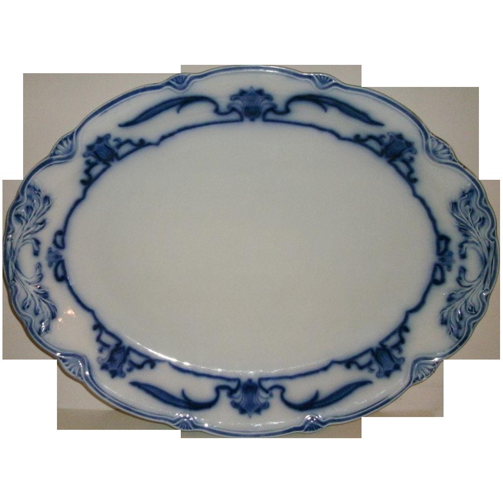 "Beautiful Large 18 3/8"" Lotus Pattern Flow Blue Turkey Platter N.H. Grindley Circa 1899"