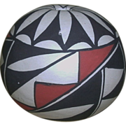 Vintage HOPI Native American Pottery Seed Pot With Black & Red Geometric Designs - Signed - BETTY WHITEHORSE 1988