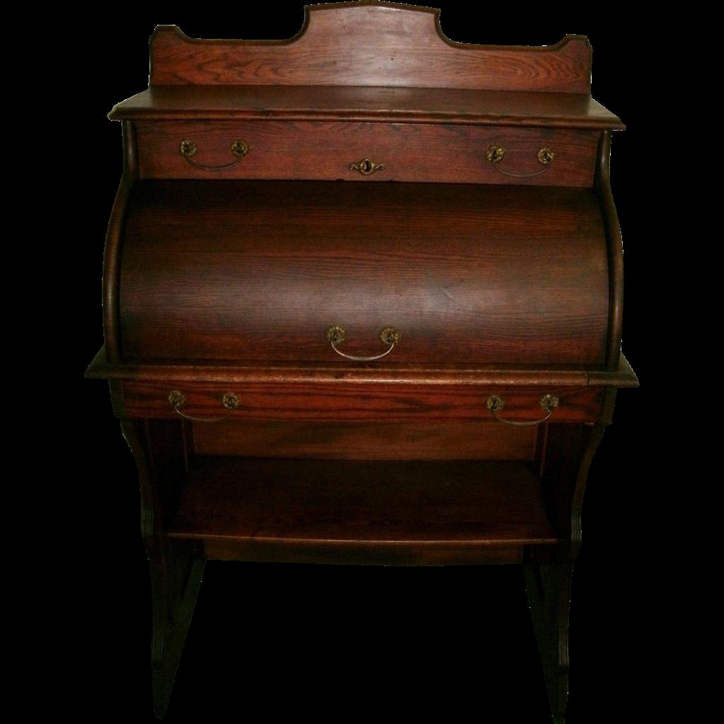 American Victorian Solid Oak Rolltop Barrel Top Ladies