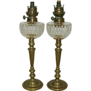 Wonderful Pair 19th Century Victorian Cut Glass Peg Oil Lamps w/ Early Pair Brass Candlesticks