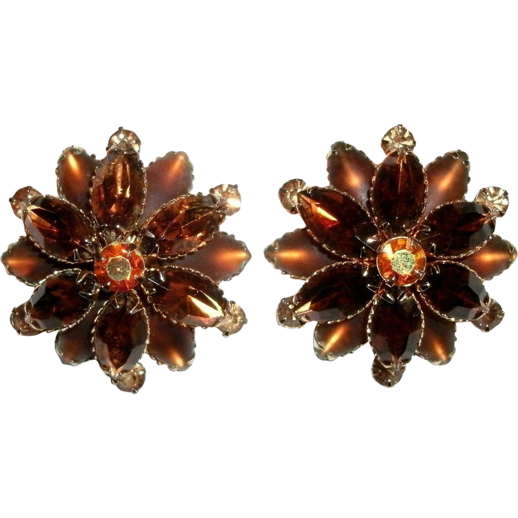 Vintage Art Deco 1950's -60's Amber Floral clip-on Rhinestone Earrings - Faceted & Prong Set - Signed JUDY LEE