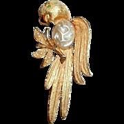 Vintage Gold Tone J.J. Copyright Gold Tone Parrot Brooch / Pin - Emerald Eye & Pearls