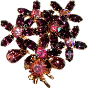 Vintage Amethyst & Aurora Borealis Floral Gold Tone Rhinestone Brooch - Faceted and Prong Set - 1950's