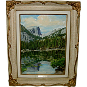 "Early 20th C. Landscape Painting N.Y. Artist Oren R. Waggener Oil On Canvas Panel Board - ""NYMPH LAKE, COLORADO"" - 1894 - 1983"