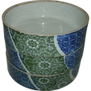 Antique 18th - 19th Century Asian Chinese / Japanese Blue, Green & White Porcelain Nesting Set of 3 Bowls