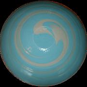 "Large Vintage 16"" YALOS CASA MURANO Aqua / Blue & White Swirl Italian Art Glass Bowl"