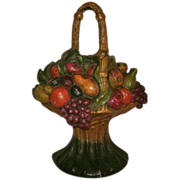 Exceptional Antique Cast Iron Handled Fruit Basket Doorstop in Beautiful Original Paint - Albany Foundry