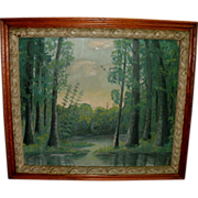 Vintage Oil on Academy Board Landscape Painting in Antique Frame - River, Trees, etc. - Signed Hixson '39
