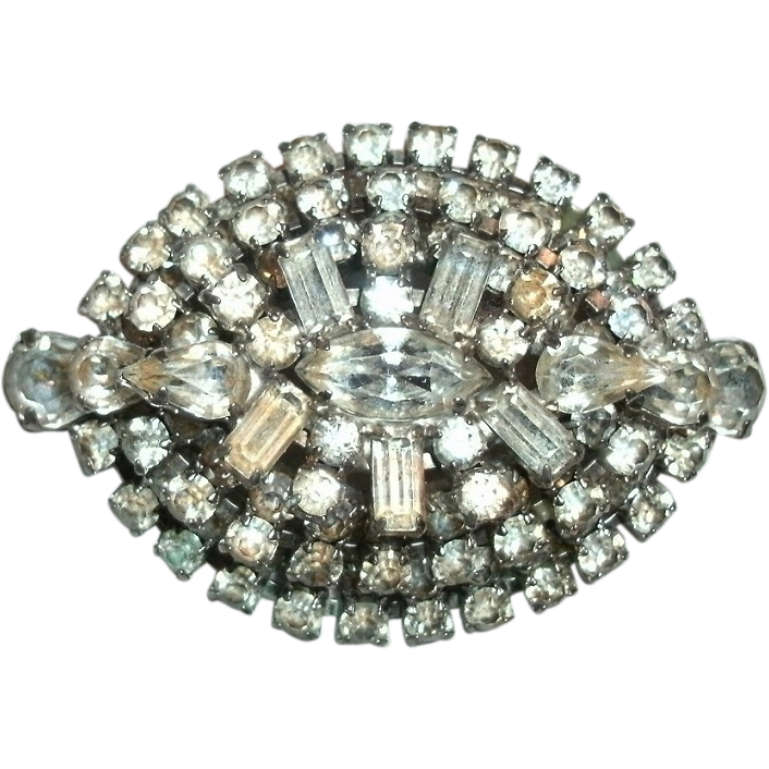 "Vintage Costume 3 Tiered ""Diamond"" Rhinestone Brooch - 106 Faceted & Prong Set Stones - 1940's-50's"