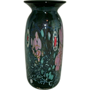 """Beautiful Multi Color Studio Art Glass Vase With Millefiori Cane Decoration Signed / Marked """"HAT"""" - Herb A Thomas"""