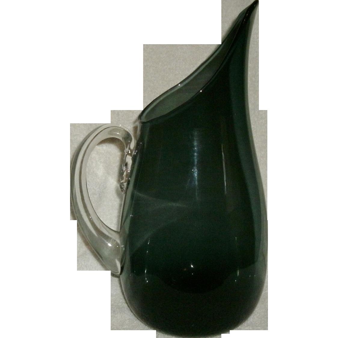 Vintage Mid Century Modern Hand Blown Charcoal Gray Blenko Art Glass Pitcher w/ Applied Handle