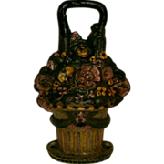 Early Large Antique Cast Iron Floral Basket Doorstop in Original Painted Surface
