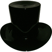 "Vintage Mid-Century Modern Blenko Hand Blown Black (Black Amethyst) Art Glass Top Hat - ""True To Life"" Size"