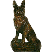 Early 20th Century (Circa 1900-1920) Antique Cast Iron Seated German Shepherd Doorstop in Original Painted Surface