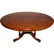 Antique Victorian Burl Walnut Mid 19th Century English Oval Top Loo Table w/ Ornate Carved Base