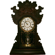 Antique Victorian Walnut Gingerbread Mantle Clock - Original Untouched Finish - Ex. Working Condition