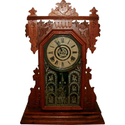Antique 19th Century Victorian Walnut Ingraham Gingerbread / Mantle / Kitchen Clock - Ex. Working Condition