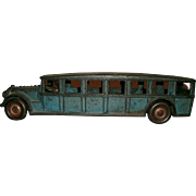 "Antique Cast Iron 12 1/4"" ""Fageol Safety Coach"" By Arcade MFG. Co. in Original Blue Paint - Circa 1925"