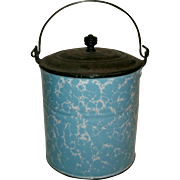 Exceptional Antique Blue & White Swirl Graniteware / Enamelware  Berry Pail with Original Tin Lid & wire Bail Handle - MINT!