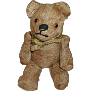 "Vintage Early 20th Century Miniature 5 1/4"" Straw Stuffed Jointed Mohair Teddy Bear - Glass Eyes, Stitched Nose / Mouth"