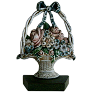 Original Antique Cast Iron Handled FLORAL BASKET Doorstop in Original Paint - #1259