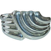 Heavy Vintage Sterling Silver Mexican Taxco Ribbed Cuff Bracelet - Stamped 925 and TC-55