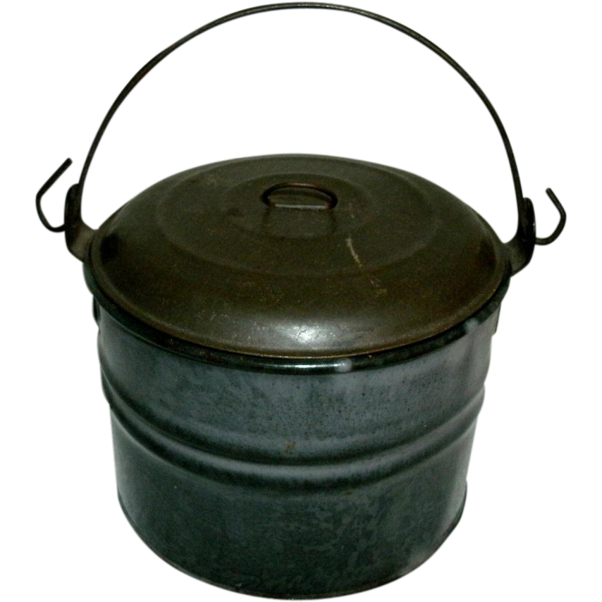 Small Antique Gray Graniteware Berry Pail with Tin Lid & Wire Bail Handle - circa 1880