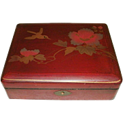 Vintage Oriental, Japanese Meiji Period Hand Painted Red Laquer Box - Bird & Flowers