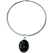"Vintage Sterling Silver Coiled ""Gas Pipe"" Collar Necklace w/ Large Taxco Sterling & Black Onyx Pendant"