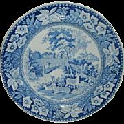 "19th Century Historical Blue Transfer Decorated 9 7/8"" Plate - Landscape Scene w/ Deer, Bridge, Man & Woman, Castles, Trees"