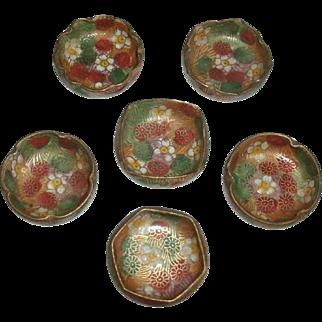 Vintage Set of 6 Oriental Japanese Hand Painted Porcelain Floral Open Salts / Salt Dips / Salt Cellars